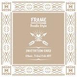 Doodle tribal ethnic style frame .Bohemian Invitation card Stock Images