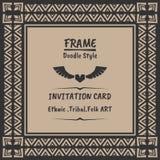 Doodle tribal ethnic style frame .Bohemian Invitation card Royalty Free Stock Photo