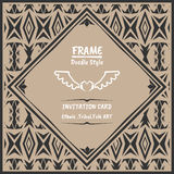 Doodle tribal ethnic style frame .Bohemian Invitation card Royalty Free Stock Photography