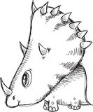 Doodle Triceratops  Dinosaur Vector Royalty Free Stock Photo