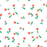 Doodle tulips seamles pattern Royalty Free Stock Photos