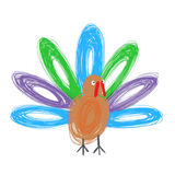 Doodle turkey. Hand drawn by crayon , use for Thanksgiving Royalty Free Stock Image