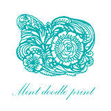 Doodle turquoise patterns and flowers  illustration Stock Photography