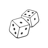 Doodle of two dice with contour. Vector illustration. Hand drawn doodle of two dice with contour. Gambling symbol. Cartoon sketch. Decoration for greeting cards royalty free illustration