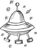 Doodle UFO Flying Saucer Vector Royalty Free Stock Photo