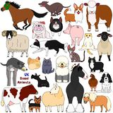 Doodle of UK breed animals. Various farm and pet animals animals bred in UK, cute domestic animal doodle set vector illustration