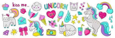 Doodle unicorn stickers. Pop art fashion elements, modern trendy comic 90s icons. Vector cartoon rainbow cat heart star