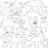 Doodle of US breed animals. Various farm and pet animals animals bred in USA, cute domestic animal doodle set stock illustration