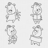 Doodle ustaloną świniowatą kreskówkę, chiński nowy rok, rok świniowatego, chińskiego charakteru chrzcielnica, jest podłym szczęśl royalty ilustracja