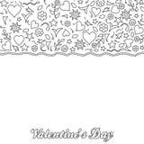 Doodle valentine dnia stylowy karciany projekt ilustracji