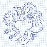 Doodle on Valentine's Day on the background of the sheet in a cage. Vector illustration Royalty Free Stock Images