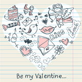 Doodle Valentine's day love postcard Royalty Free Stock Image