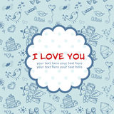 Doodle Valentine's day love postcard Stock Photography