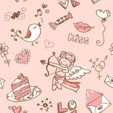Doodle Valentine's day seamless texture Royalty Free Stock Photo