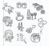 Doodle Valentines Day icons Royalty Free Stock Photos