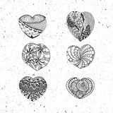 Doodle Valentines Day vector Hearts Collection Stock Photos