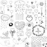 Doodle valentines dnia serca i elementy ilustracji