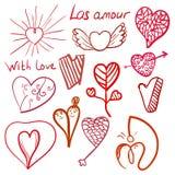 Doodle valentines hearts set Stock Photos