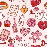Doodle valentines pattern Royalty Free Stock Image