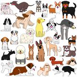 Doodle of various cute dogs. Various breeds of dogs doodle set, cute cartoon dogs collection stock illustration