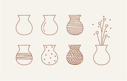 Doodle vases and flower design Stock Photography