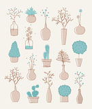 Doodle vases and flower design Stock Image