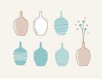 Doodle vases and flower design Stock Photo