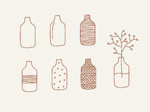 Doodle vases and flower design Royalty Free Stock Image
