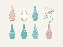 Doodle vases and flower design Royalty Free Stock Images