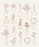 Doodle vases and flower design Stock Images