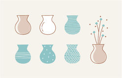 Doodle vases and flower design Royalty Free Stock Photography