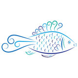 Doodle vector abstract blue fish Royalty Free Stock Photography