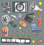 Doodle vector cinema. Hand drawn set of objects and symbols on the cinema theme Royalty Free Stock Photo