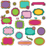 Doodle Vector Collection of Bright Frames Royalty Free Stock Photography