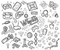 Doodle vector collection of virtual reality and innovative techn Stock Photo