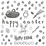 Doodle vector Easter set. BW Royalty Free Stock Photos