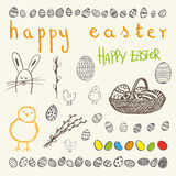Doodle vector Easter set. Royalty Free Stock Images