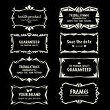 Doodle vector Ethnic Tribal  style frame collection in monochrome Stock Photo