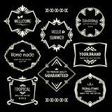 Doodle vector Ethnic Tribal  style frame collection in monochrome Royalty Free Stock Image