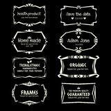 Doodle vector Ethnic Tribal  style frame collection in monochrome Stock Images