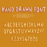Doodle vector font. Doodle 3D vector font and figures Royalty Free Stock Photography