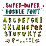 Doodle vector font with funny 3d effect Stock Image