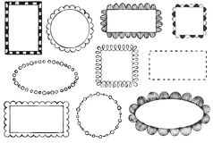 Doodle vector frames. Set of doodle vector frames Stock Photography