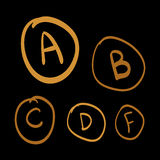Doodle vector grades, set of gold hand drawn letters  Stock Photos