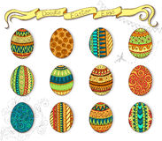 Doodle vector Happy Easter set with eggs. Royalty Free Stock Photos