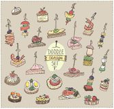 Doodle vector illustration with canapes and sandwiches. Vintage colors Stock Photo