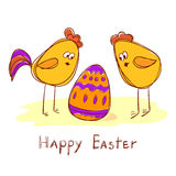 Doodle vector illustration. Cock, hen and Easter egg. Stock Photography