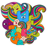 Doodle vector illustration with monsters. Funny monsters graffiti. Hand drawn sketch art. Stock Image