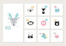Set of cute hand-drawn animals on postcards. Cartoon faces of deer, koala, monkey, raccoon, lion, bear, fox and other. vector illustration