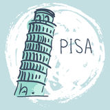 Doodle Vector Illustration. World Famous Landmarck Series:Italy,Pisa,leaning Tower of Pisa Stock Photo